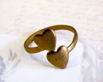 Raw Brass Double Heart Adjustable Engraving Rings (2X) (J607)