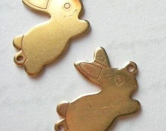 Raw Brass Bunny Engraving Charms (6x) (M502-A)