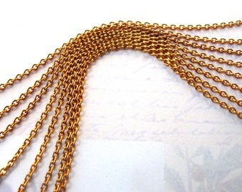 Vintage Orange Brass Cable Chain - soldered (8 Feet) (C576)