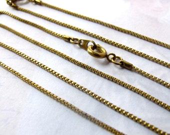 LAST Set - Vintage Brass Box Chain Necklaces (4X)  (C518)