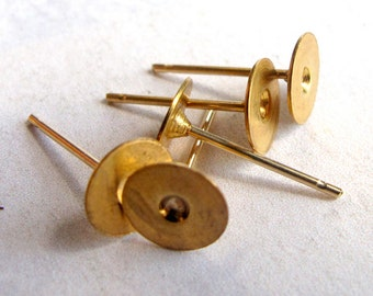 Brass Earring Posts (6 Pairs) (F565)