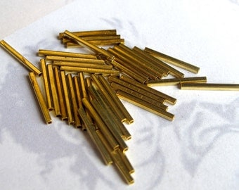 Vintage Brass Square Tube Beads (V411)