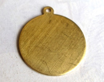 Raw Brass Engraving Circle Charms - with bail - 23mm X 26mm (6X) (M734)