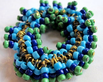 Vintage Japanese Seed Beaded Blue and Green Glass Charms (12X) (B631)