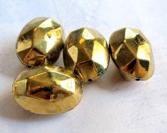 Huge Vintage Brass Faceted Stone Beads (4X) (V266)