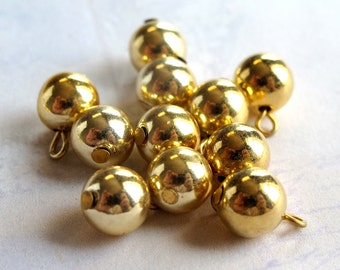 Vintage Japanese Gold Plated Metal Beaded Charms (8X) (B567)
