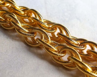 Huge Vintage Gold Plated on Brass Textured Rope Chain Piece (1x) (6 Inches) (C555)