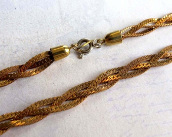 Vintage Raw Brass Trifari Foxtail Braid Necklace (1x) (18 inches) (C651)