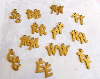 Assortment Of Vintage Raw Brass Initial Letter Charms B E F G H M N P R S T W (24X) (V385)