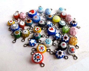 Random Assortment Of Vintage Double Bail Italian Millefiore Glass Charms (36X) (P529)