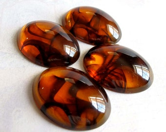 LOW Stock - Vintage Tortoise Shell Plastic Cabochons (6x) (CB505)