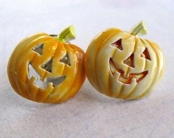 Vintage Pumpkin Enamel Pins (3X) (E542)