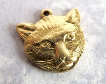 Brass Cat Head Charms (4X) (M559)