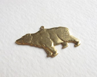 Brass California Bear Pendants (4x) (M575)