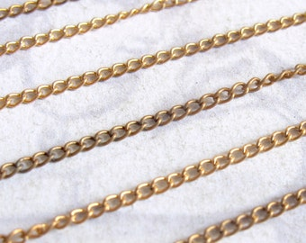 Vintage Red Brass Curb Chain - Soldered (10 Feet) (C515)