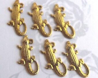 Tiny Alligator / Crocodile Charms  (6X) (M793)