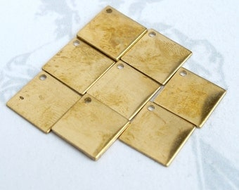 Brass Square Diamond Engraving Charms (8X) (M721)