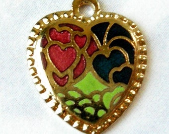 Vintage Enamel Heart Charms - Pink Blue & Green (6X) (E554)
