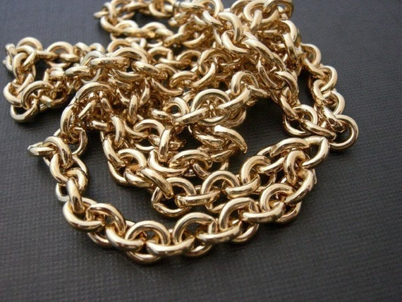 Vintage Gold Plated on Raw Brass Chain (26 inches) (C608)