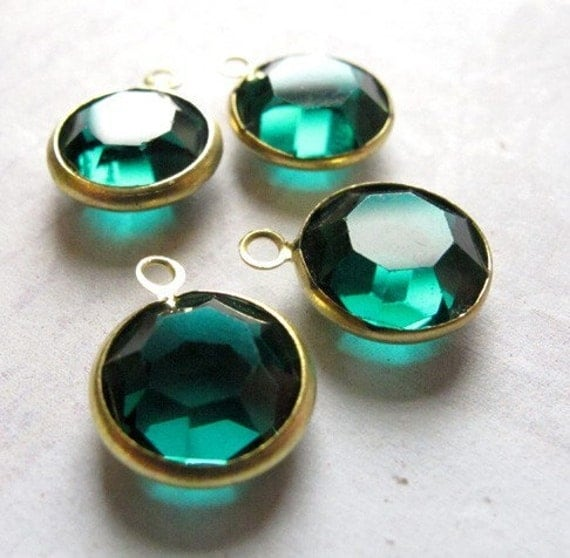 Vintage Emerald Green German Glass Rhinestone Crystal Channel Charms (14mm) (4X) (S535)