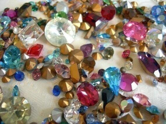 Random Assortment of Vintage Swarovski Rhinestone Crystal Stones (1mm-10mm) (12 grams) (S502 -A)