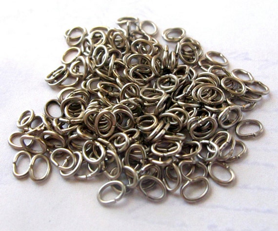 Nickle Oval Jump Rings - 5mm x 3mm - 40 grams (approx. 650X) (F526)