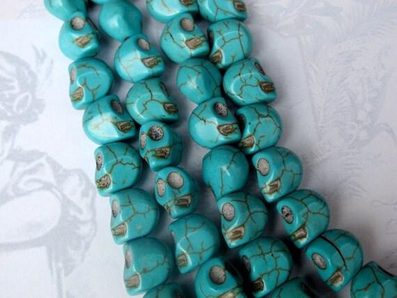 LAST Set - Died Turquoise Blue Howlite Skull Beads (6X) (NS505)