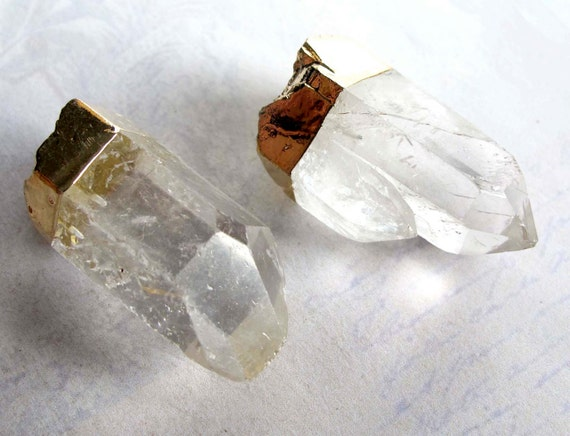 Quartz Pendant With Gold Plated Foiling with Bail (1X) (NS704-B)