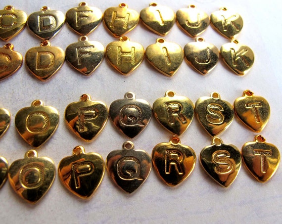 Assortment Of Vintage Gold Plated Initial Letter Charms - A B C D F H K M N O S T U V (28X) (V409)
