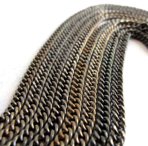 LAST Set - Vintage Brass Plated Curb Chain Necklaces (2X) (19 Inches) (C590)