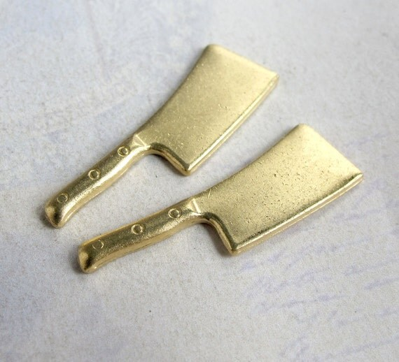 Brass Meat Cleaver Engraving Charms (2X) (M766)