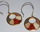 Handcrafted Vintage Enamel Earrings 70's Style Multi Color