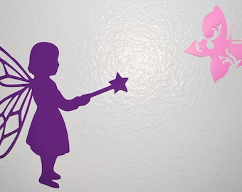 Vinyl Girl's Wall Decor Fairy Silhouette Butterlies Purple Pink