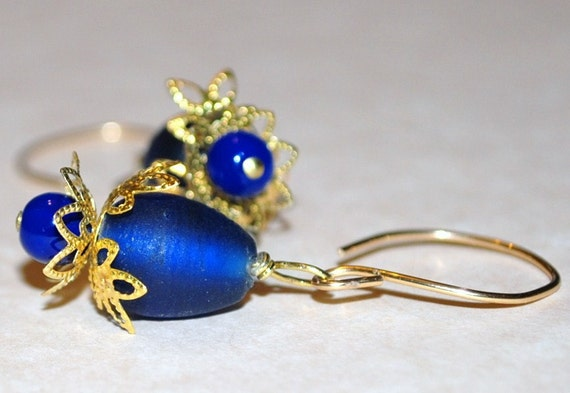 Artisan Frosted Glass Earrings Matte Blue Gold Dangles Teardrops Artisan Jewelry