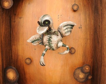 Duck - Sculpture - Art Doll - Shadowbox - Diorama