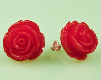 Large Red Vintage Rose Button Post Earrings