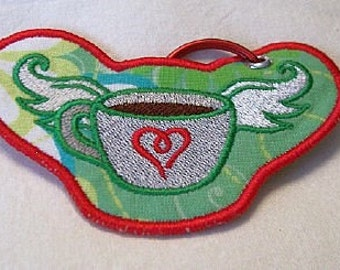 Flying Coffee Embroidered Keychain/Lunchbag Tag/Luggage Tag