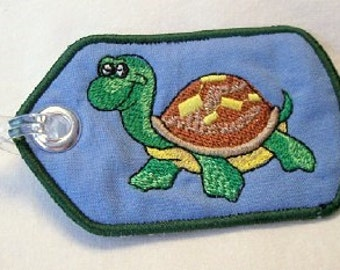 Cool Turtle Embroidered Luggage Tag/Keychain/Lunchbag Tag