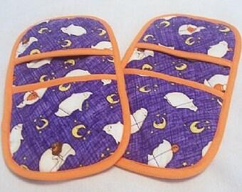 Halloween MicroMitts -- Ghosts on Purple