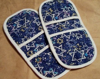 Happy Hanukkah Marvelous MicroMitts -- Stars of David on blue