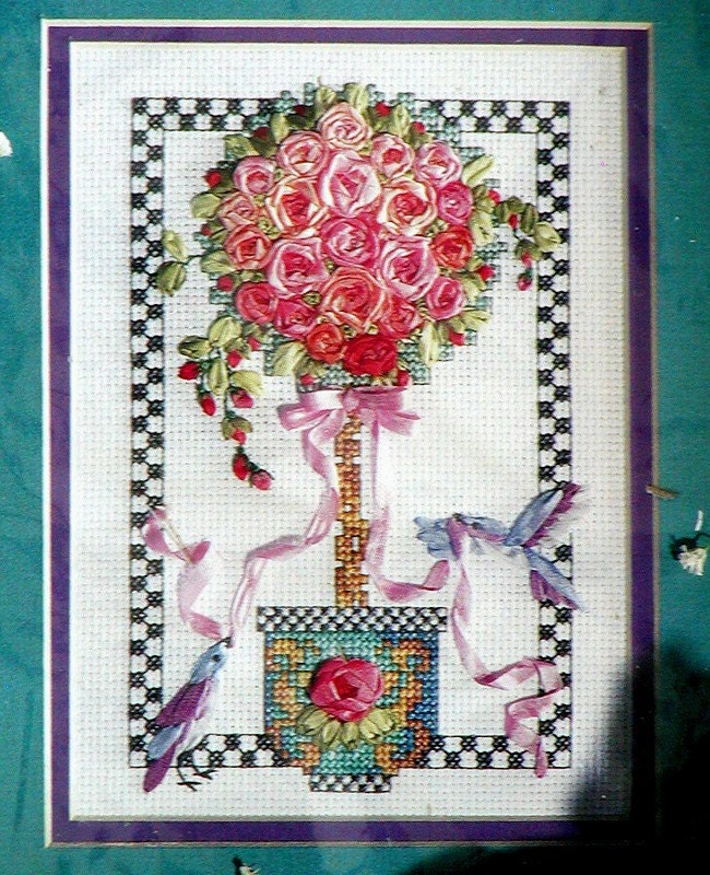 Topiary silk ribbon embroidery cross stitch kit new in package