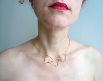 3 triangle 18k Vermeil necklace