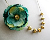 Teal Flower Necklace,Teal Floral Necklace,Gold Necklace,Teal Necklace,Fabric Flower Necklace,Bridesmaid Necklace,Wedding Jewelry Set,Gift