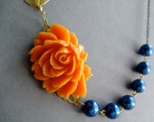 Statement Necklace,Orange Flower Necklace,Flower Necklace,Floral Necklace,Orange Necklace,Navy Blue Pearl Necklace,Bridesmaid Necklace,Gift