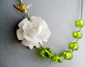 Wedding Jewelry Set,White Flower Necklace,White Rose Necklace,Flower Necklace,Lime Green Necklace,Bridesmaid Necklace,Statement Necklace