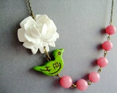 Bird Necklace,Lime Green Jewelry,Pink Jewelry,Flower Necklace,Bridesmaid Necklace (Free matching earrings)
