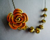 Safari Necklace,Flower Jewelry,Bridesmaid Necklace,Wedding Jewelry,Gold Jewelry,Retro Necklace (Free matching earrings)