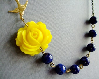 Flower Necklace,Yellow Flower Necklace,Floral Necklace,Navy Blue Necklace,Yellow Necklace,Bridesmaid Necklace,Nautical Necklace,Gift Her