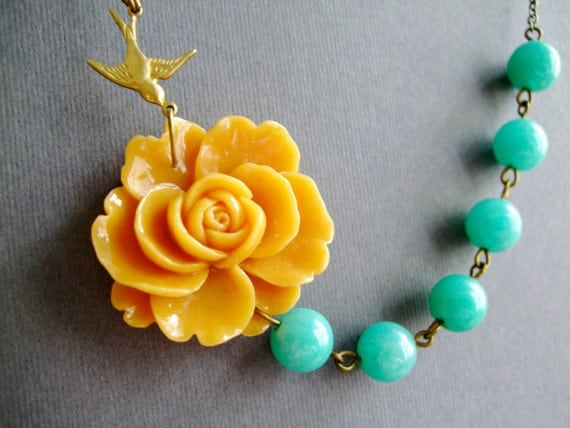 Mustard Flower Necklace,Floral Necklace,Mustard Necklace,Aqua Necklace,Bohemian Necklace,Bridesmaid Necklace,Wedding Jewelry Set,Gift