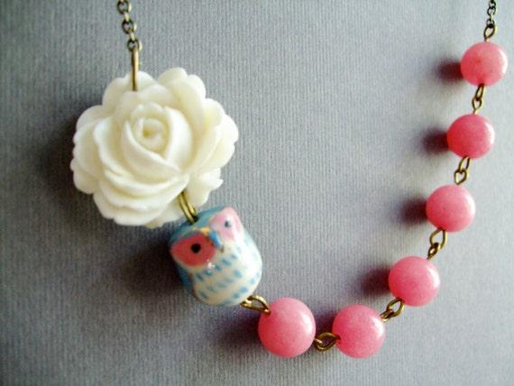 Owl Necklace,Owl Jewelry,Pink Jewelry Jewelry,Flower Necklace,Bridesmaid Necklace,Stone Necklace(Free matching earrings)
